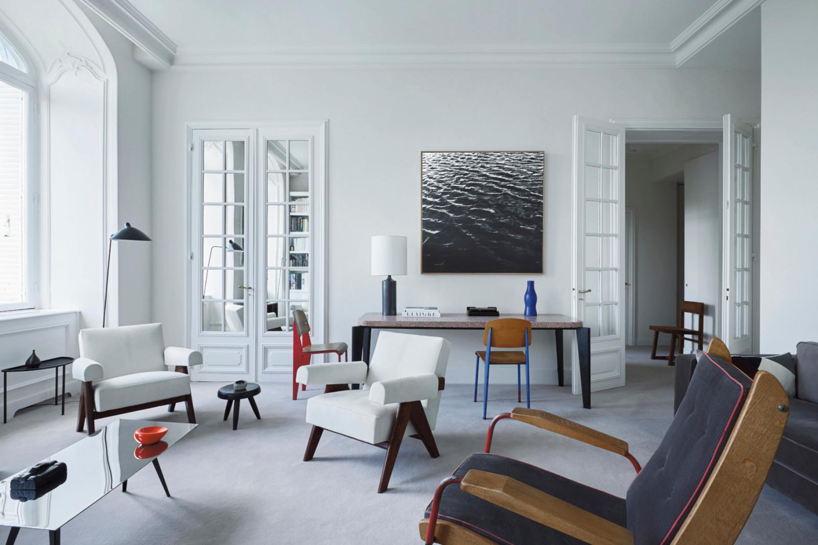 Emmanuel de Bayser's Paris apartment, with furniture by Jean Prouvé, Pierre Jeanneret, Charlotte Perriand and Ron Arad, and ceramics and lamps by Geor