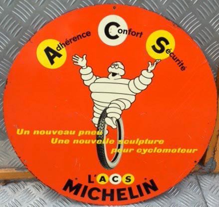 372€ Michelin Moto, Adhérence Confort Sécurité, un nouveau pneu pour cyclomoteur…, tôle lithographiée ronde double face, imprimerie Noël à Auxerre, v