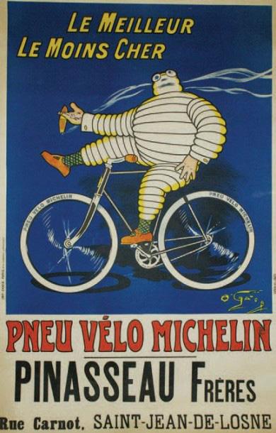 1500€ Marius Rossillon, dit O'Galop(1867-1946), Pneu vélo Michelin, le meilleur, le moins cher, affiche entoilée, imprimerie Chaix, Paris, 112x78