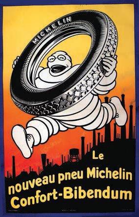 1983€ Le Nouveau Pneu Michelin Confort-Bibendum, affiche entoilée, Bedos &Cie Paris, 200x120cm. Drouot, 17février 2012. Tessier & Sarrou et Ass