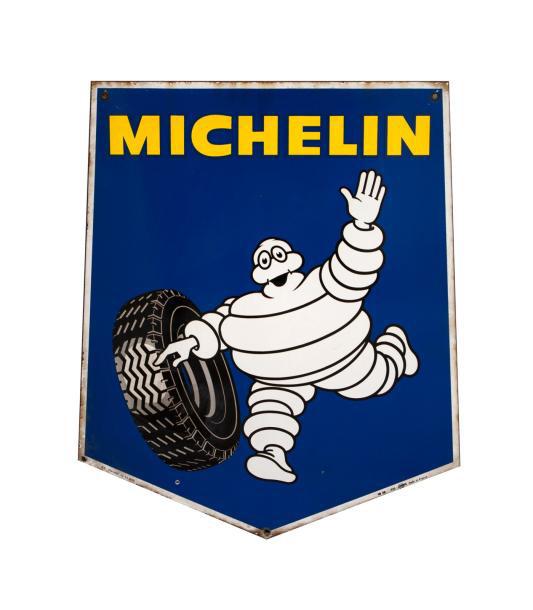 129€ Michelin, plaque émaillée biface sur fond bleu, 80x66cm. Drouot, 10juin 2014. MillonOVV. M.Castaing-Despaux.