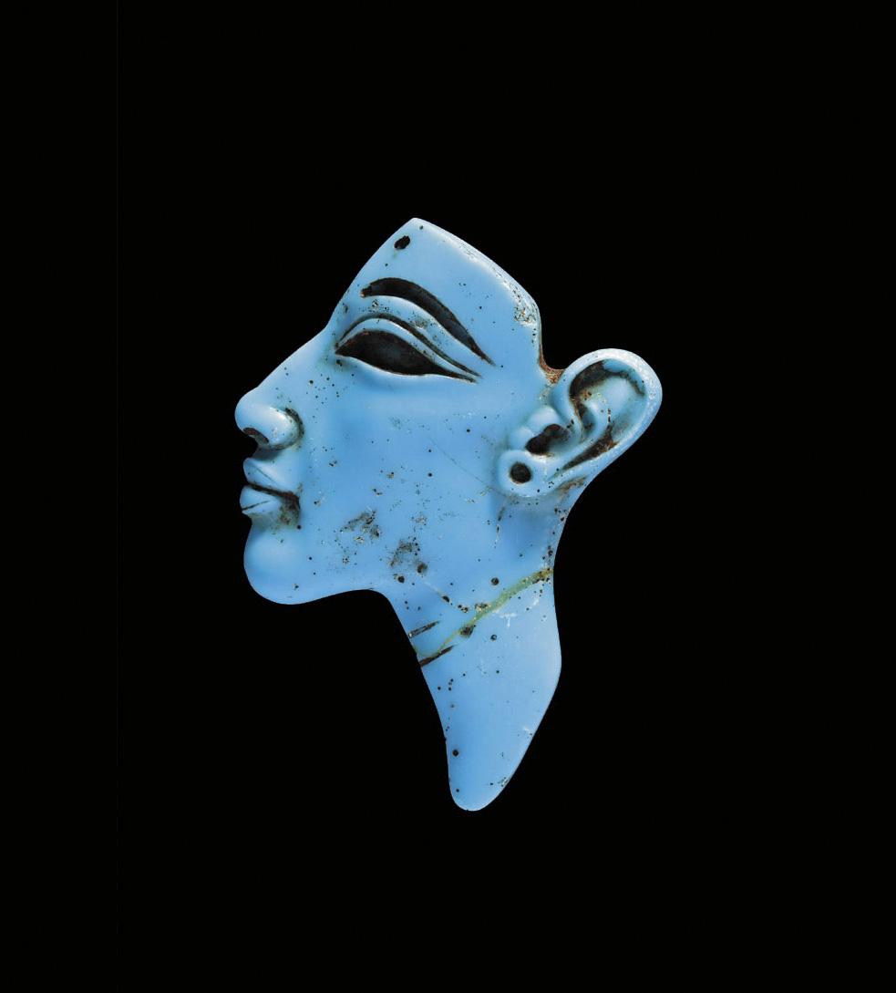 Akhenaton, c. 1353-1336 BC, Egypt, probably Tellel-Amarna, 18th dynasty, reign of Akhenaton, inlaid figure of the face of Akhenaton, opaque blue glass