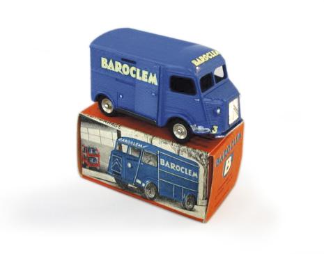 3968€ Dinky Toys France, Citroën 1200k bleu soutenu, véhicule promotionnel miniature pour les batteries Baroclem, version hors commerce, avec sa bo