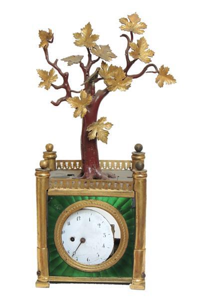 4636€ Boîte, éléments de boîte et de mouvement d'une pendule à musique avec oiseau automate dans un arbre, h.28,6cm. Drouot, 31mai2012. Chayette