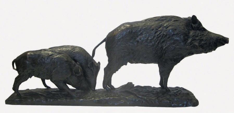 6320€ Georges Gardet (1863-1939), Laie et ses petits, bronze à patine brune, signé, 30x74x14cm. Drouot, 26 novembre 2014. Digard AuctionOVV.