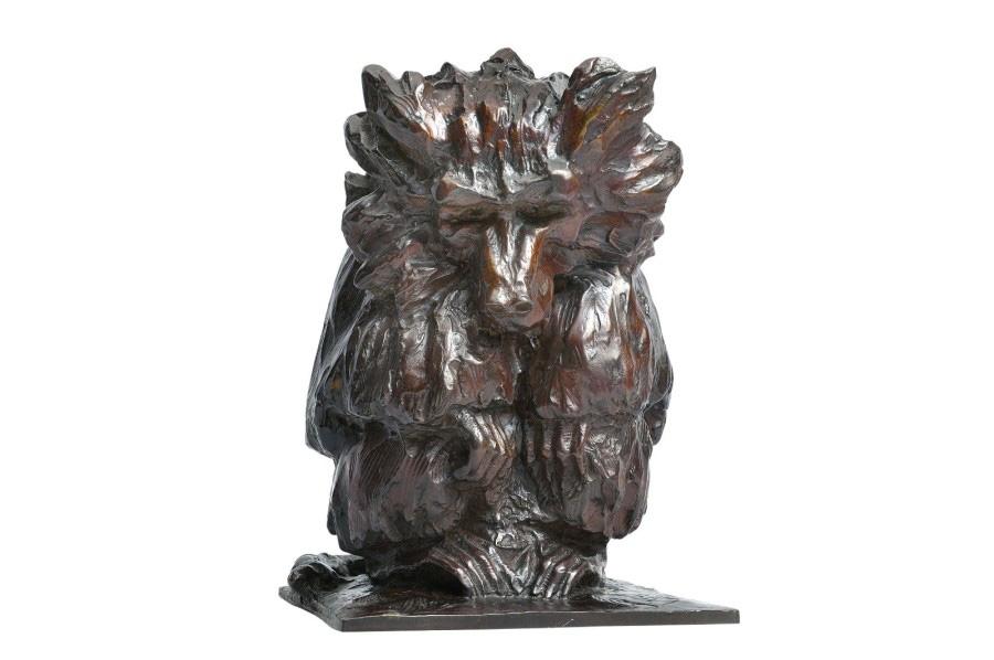 7200€ Guido Righetti (1875-1958), Babouin hamadryas assis, bronze à patine brun-rouge, signé, cachet d'édition UDB, cachet Rosini (fondeur), 31x23