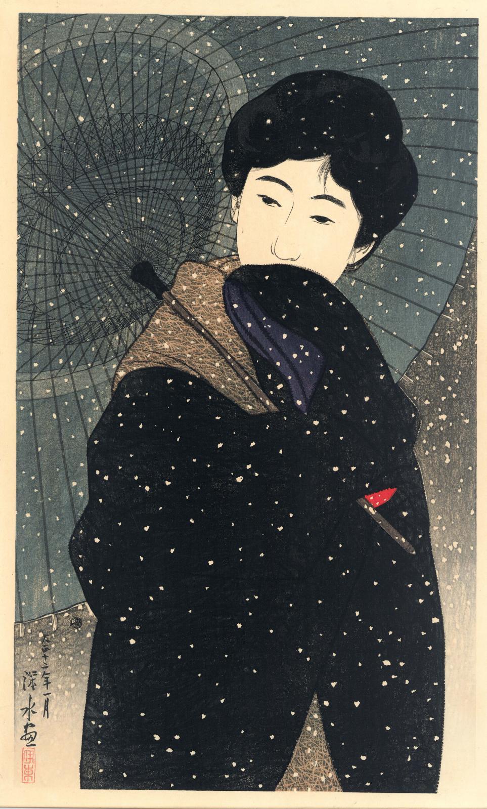 Ito Shinsui (1898-1972), Nuit dans la neige, issu de la série «Douze nouvelles belles femmes», 1923, gravure sur bois, 43,2x26,2cm (détail).
