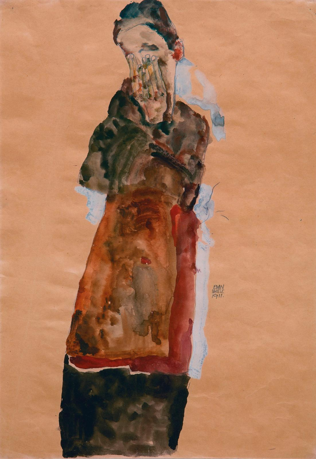 "Egon Schiele (1890-1918), ""Standing Woman Covering Face With Both Hands"", 1911, gouache, watercolor, and pencil on paper, 44.7 x 31.5 cm. Wienerroithe"