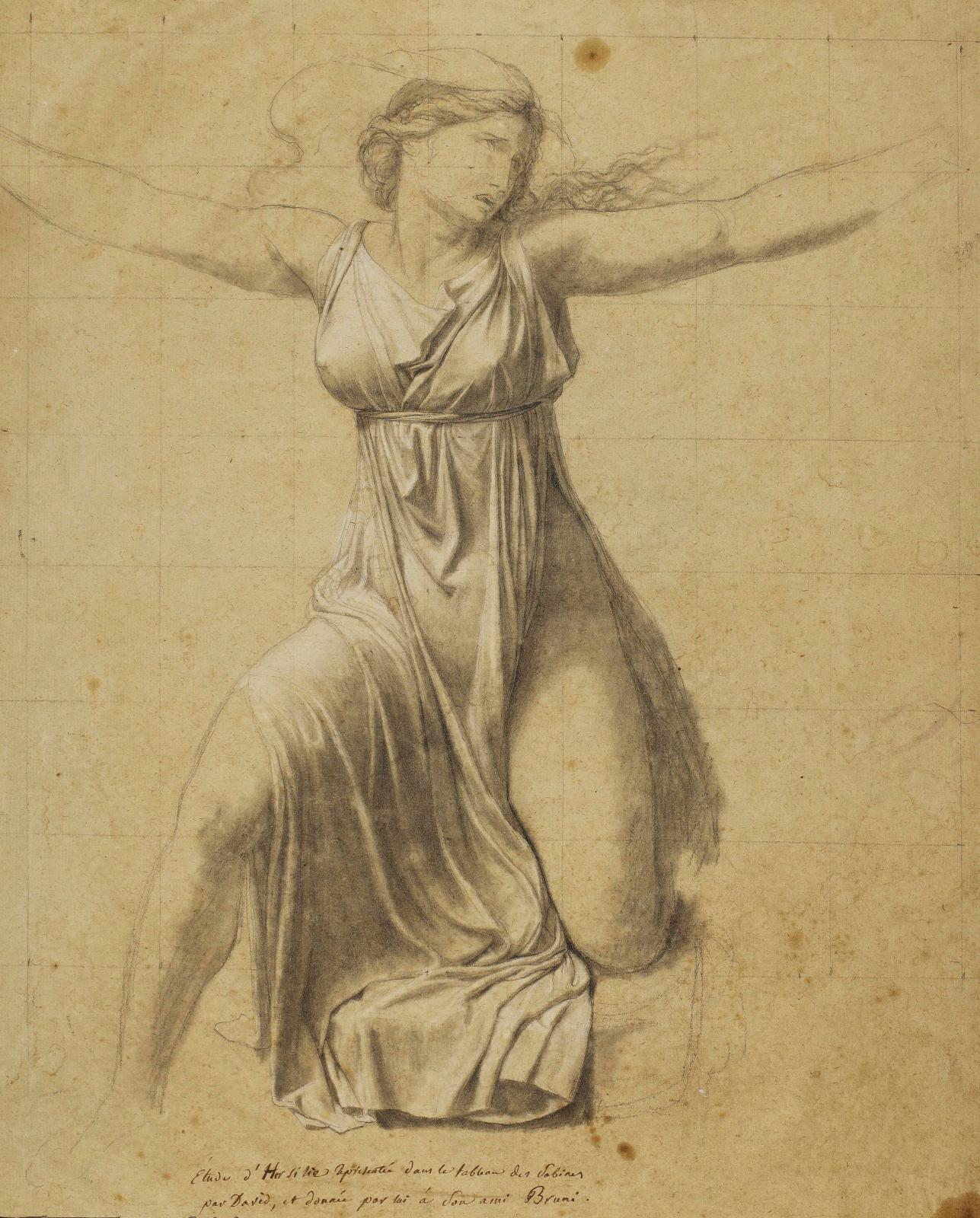 "Jacques-Louis David (1748-1825), ""Study for the figure of Hersilia"", 1796, black chalk, stump, white chalk on beige paper, 48.8 x 39.5 cm."