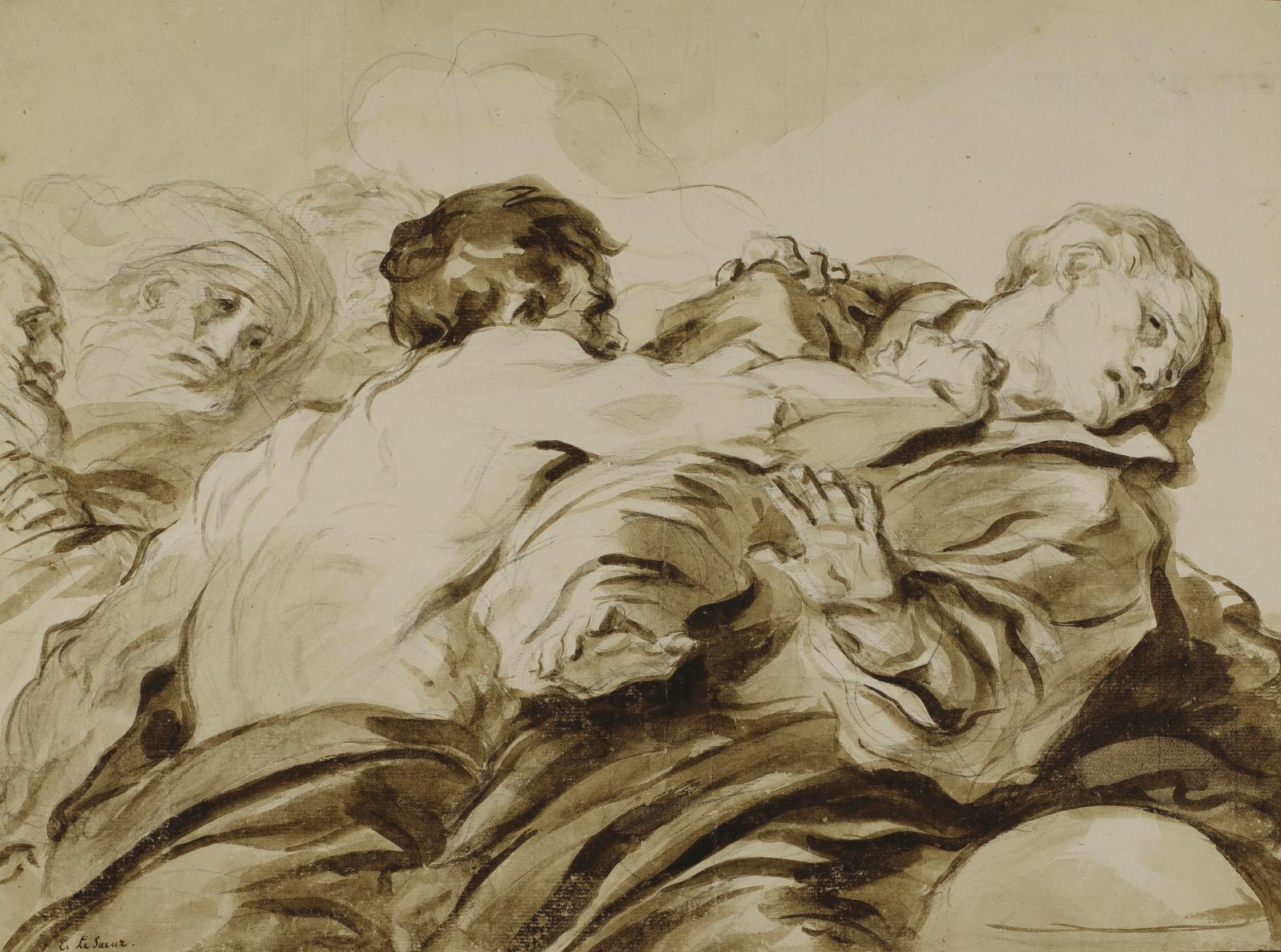 "Jean-Honoré Fragonard (1732-1799), ""L'Attaque"", late 1770s, ink, brown wash, black chalk, 34 x 46 cm."
