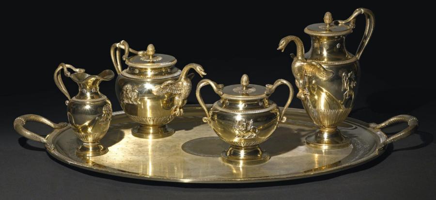 25000€ Maison Odiot, service à café et à thé en vermeil ciselé, copie fidèle d'un modèle d'époque Empire, créé et exécuté par Jean-Baptiste Odiot (1