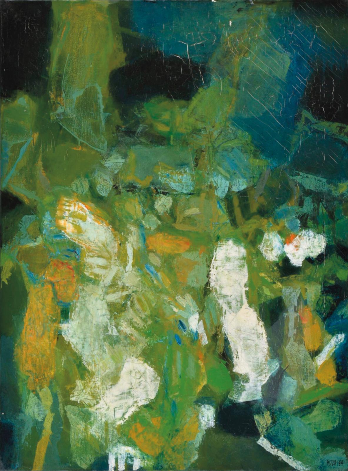 Sayed Haider Raza (1922-2016) a passé son enfance dans la forêt indienne, qui lui a inspiré ce Sous-bois (75 x 56 cm), une huile sur toile, signée et