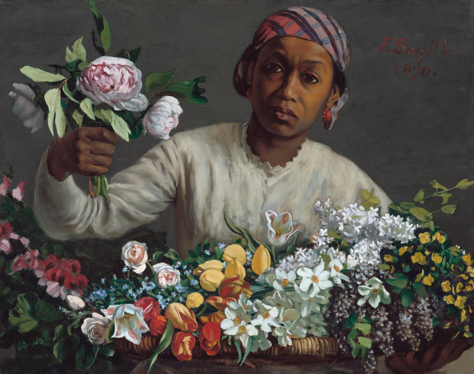 Frédéric Bazille (1841-1870), Femme aux pivoines, 1870, initialement intitulé Négresse aux pivoines, huile sur toile, 60x75cm.