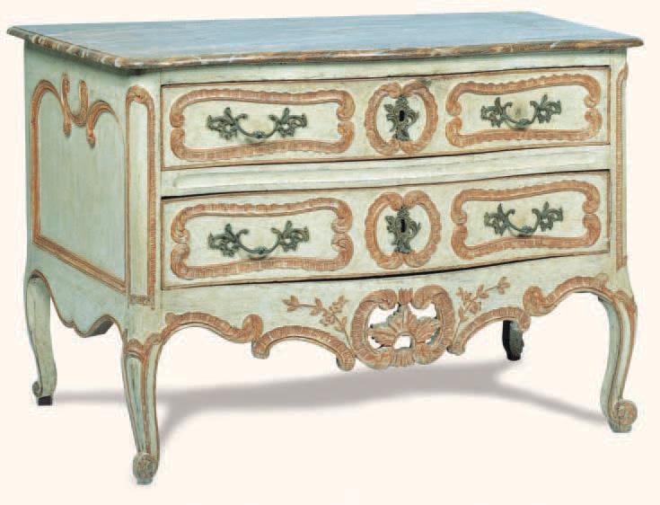 Commode relaquée dessus de bois relaqué imitant le marbre, travail provençal du XVIIIe siècle, 87 x 137 x 69 cm.Paris, Millon et Associés, 6/12/2002.7