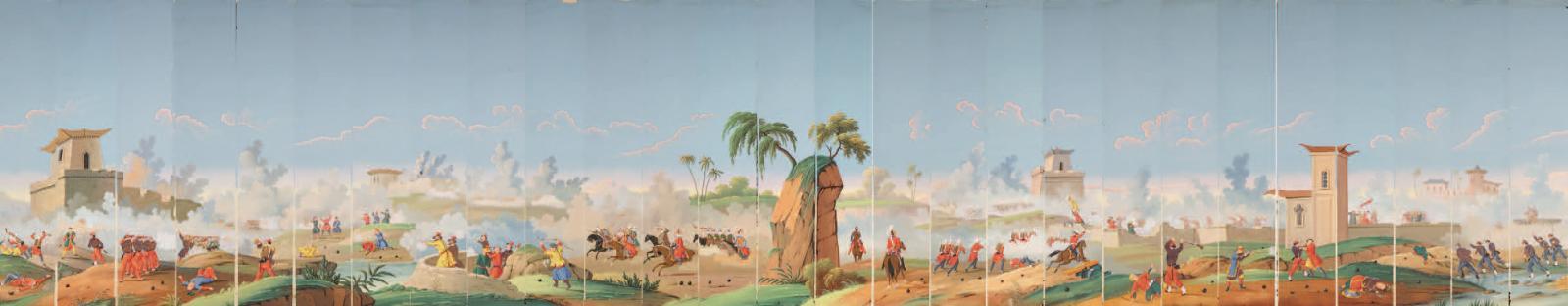 L'Expédition de Chine, scène de bataille devant les fortifications de Dagu, vers 1860, décor panoramique en papier peint à la main, suite continue de