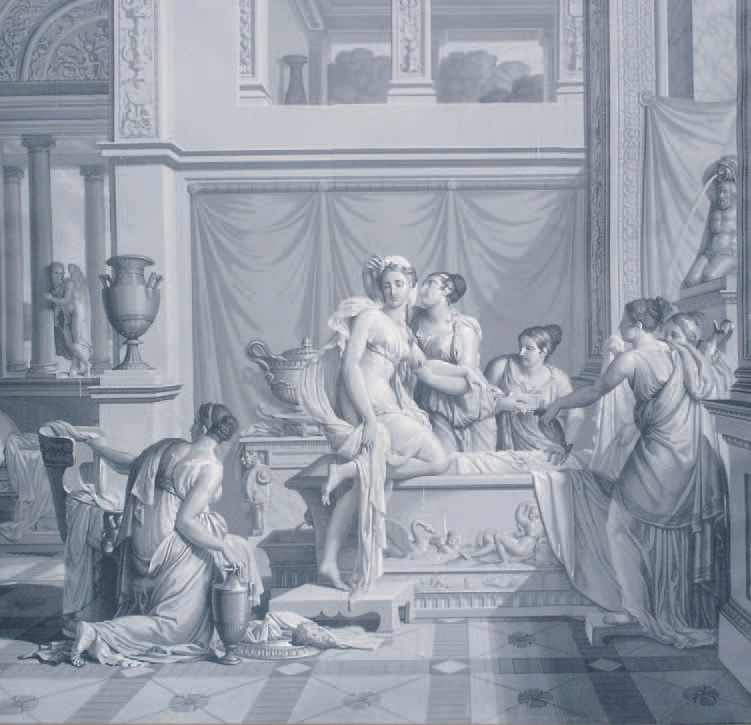 Ensemble de papiers peints panoramiques représentant L'Histoire de Psyché, manufacture Dufour, Paris, édition originale 1815, mise en vente en 1816, i