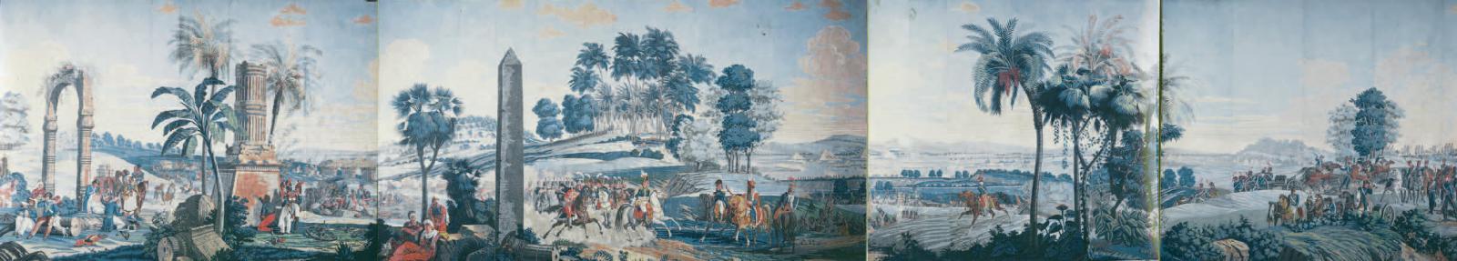 Manufacture Velay Paris, dessinateur Jean-Julien Deltil (1791-1853),La Bataille d'Héliopolis ou Les Français en Égypte, papier peint, première édition