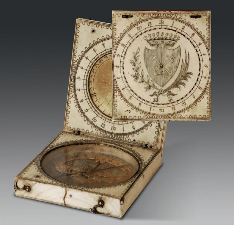 Cadran solaire en ivoire, signé Blud, Dieppe, XVIIe siècle, 7x6,5cm.Le Havre, 21juin2009. Le Havre Enchères SVV. 8500€ frais compris.