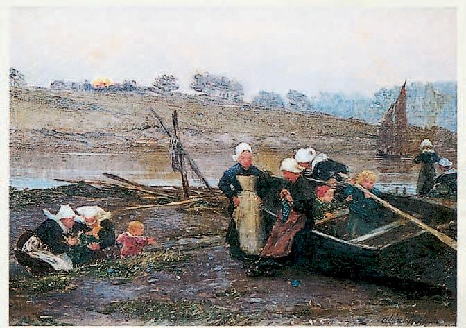 Alfred Guillou : Bretonnes et leurs enfants au bord de la ria au soleil couchant,huile sur panneau, 24 x 33 cm.Brest, 19/7/2003, Thierry & Lannon SVV.