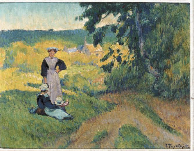 Jean-Bertrand Pégot-Ogier(1878-1915) : Paysannes aux champs,huile sur toile, 27,5 x 35,5 cm.Rennes, Bretagne Enchères, 7/10/2003.4 600 €