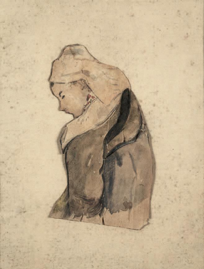 Paul Gauguin (1848-1903) :Bretonne de profil, crayon noir et aquarelle sur papier découpé, 19 x 10,5 cm.Paris, 6/11/2003, Tajan SVV.25 000 €