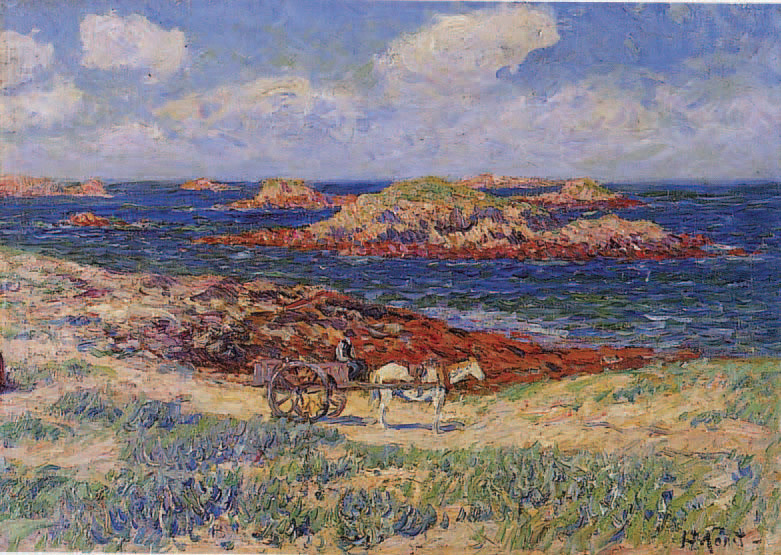 Henry Moret (1856-1913) :Le Ramasseur de goémon, Glénans, 1904, huile sur toile signée en bas à droite.37 x 52 cm.Paris, 21/10/2003, Arcturial.36 100