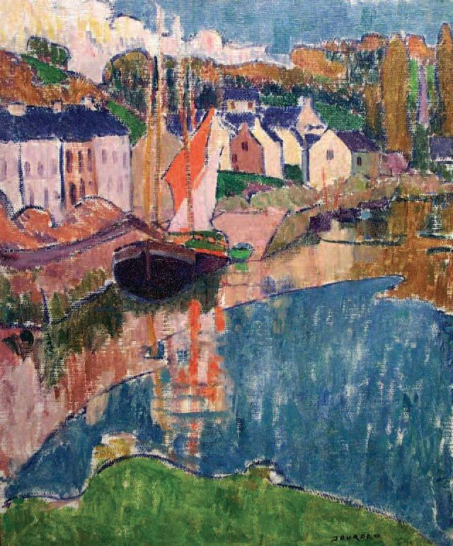 Émile Jourdan (1860-1931)Les Barques au port de Pont-Aven, huile sur toile, 65 x 54 cm.Quimper, 7/12/2003.Hôtel des ventes de Quimper SVV.35 000 €