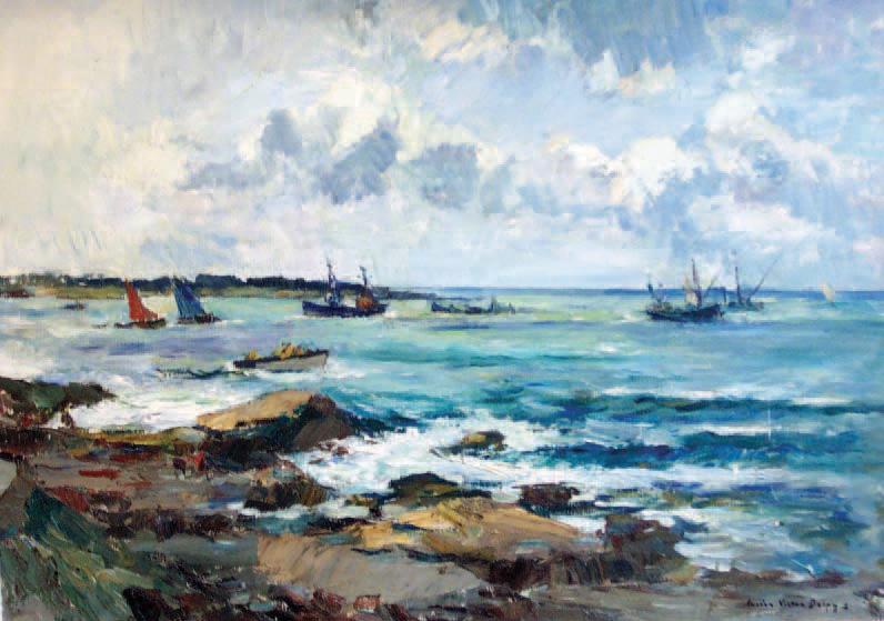Lucien Victor Delpy (1898-1967)L'Entrée de la rade de Lorient, vue de Larmor-Plagehuile sur toile, 75 x 92 cm.Douarnenez, 24/07/2003, Adjug'Art, Me Ma