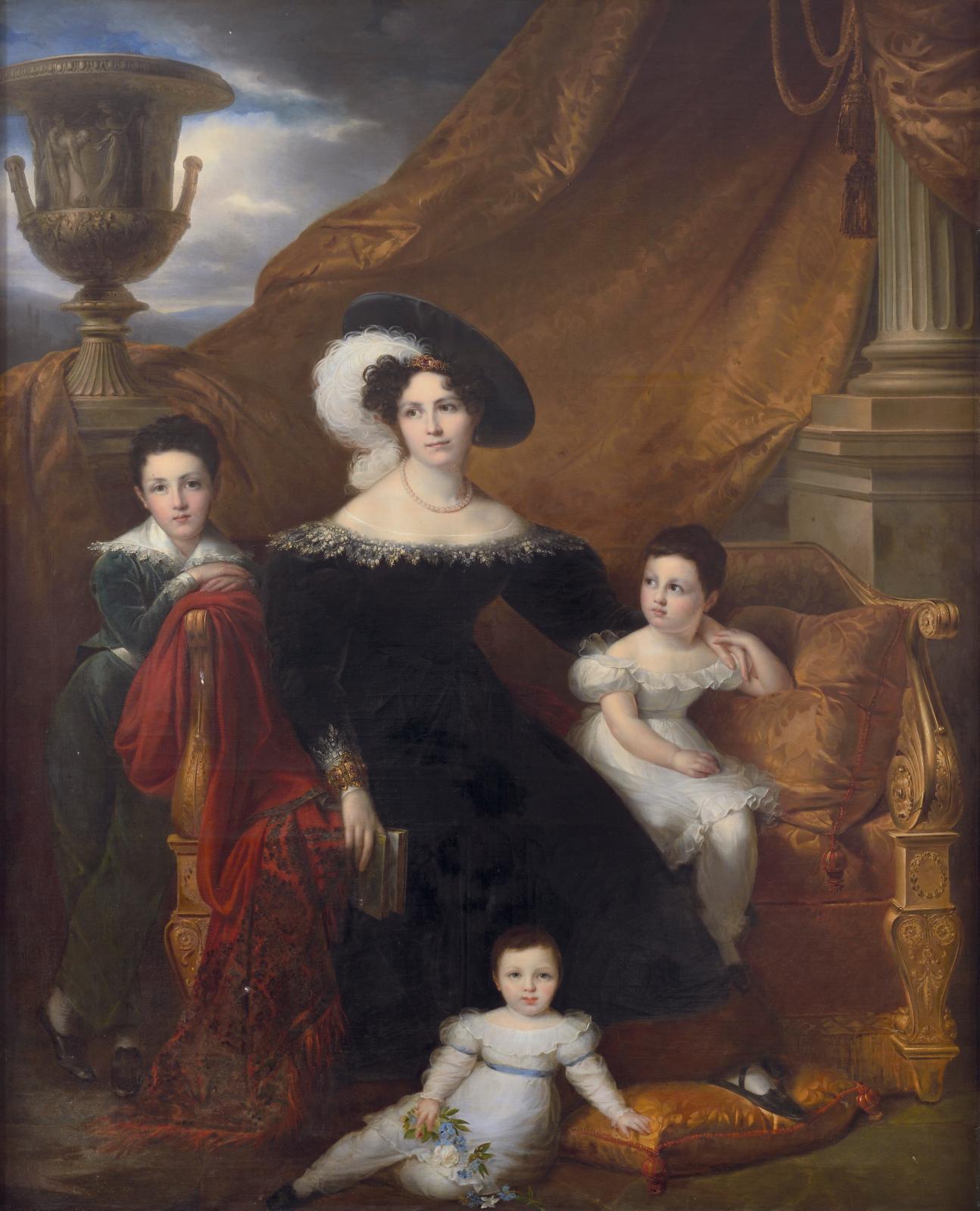 Ce Portrait de Céline Chagot deFays(1797-1881), marquise Amelot deChaillou, et ses enfants, Antoine, Anna et Marie, est sans doute la toile que Fra
