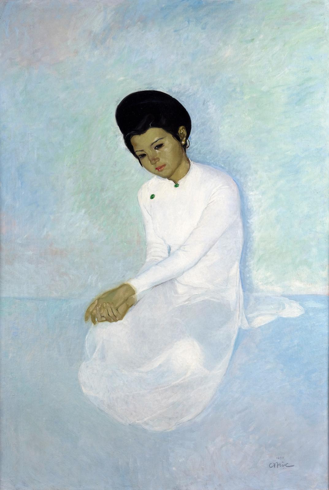 Tran Binh Loc(1914-1941), Portrait d'une élégante, 1937, huile sur toile, 153x103,5cm (détail). Adjugé: 520700€