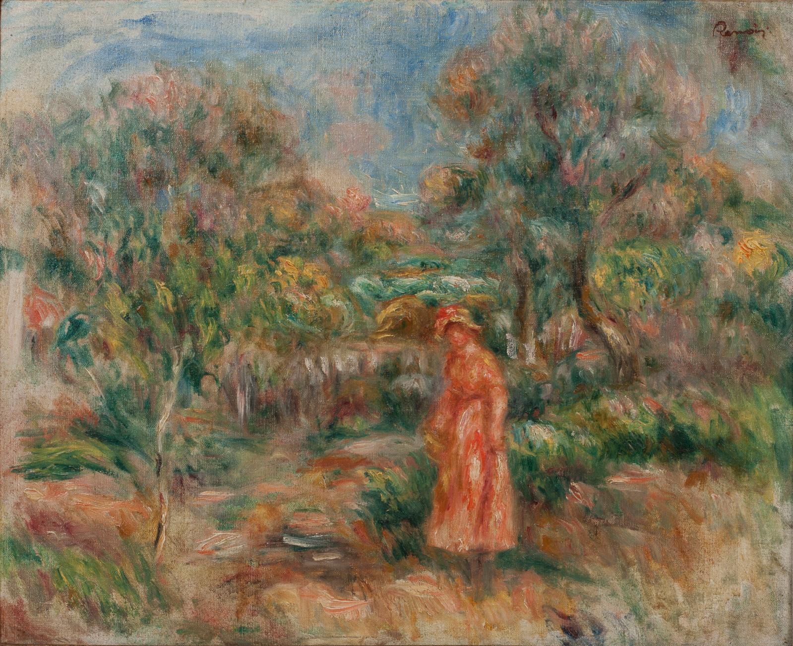 Pierre Auguste Renoir (1841-1919), Femme en rose dans un paysage à Cagnes, huile sur toile, 40x49cm.Lundi 1eravril, salle6 - Drouot-Richelieu. OV