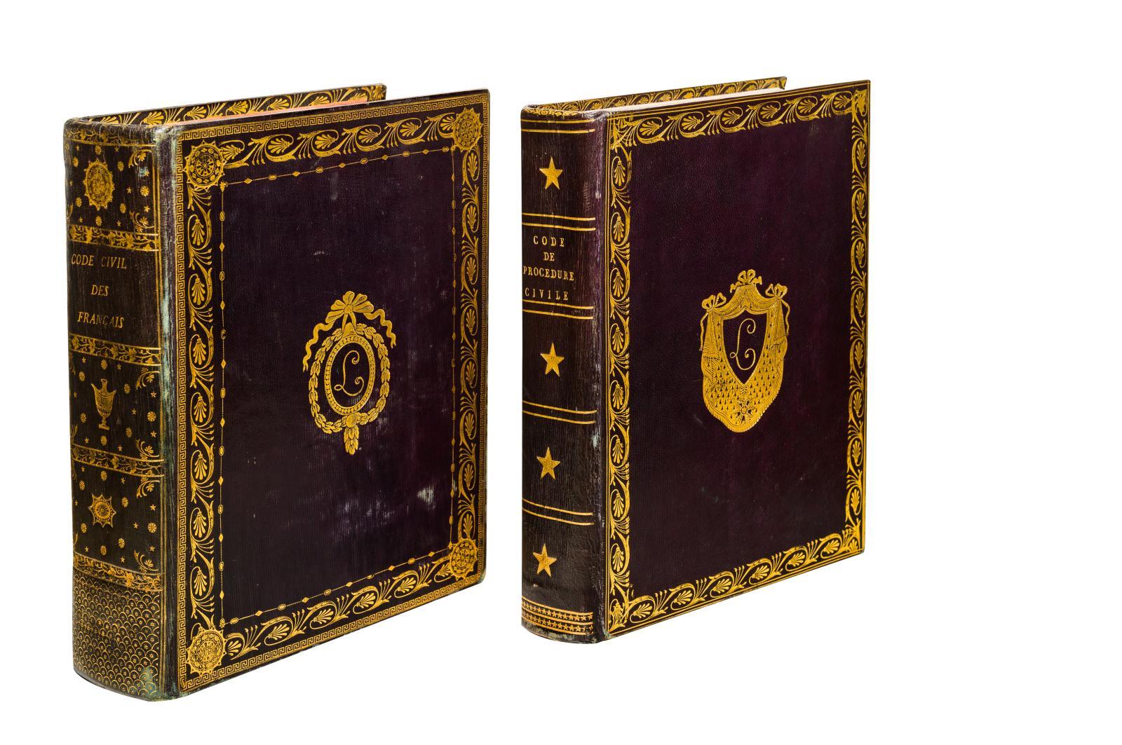 Code civil des Français, Code de procédure civile, Paris, imprimerie de la République, 1804-1806, reliure au chiffre de Charles-François Lebrun(1739-