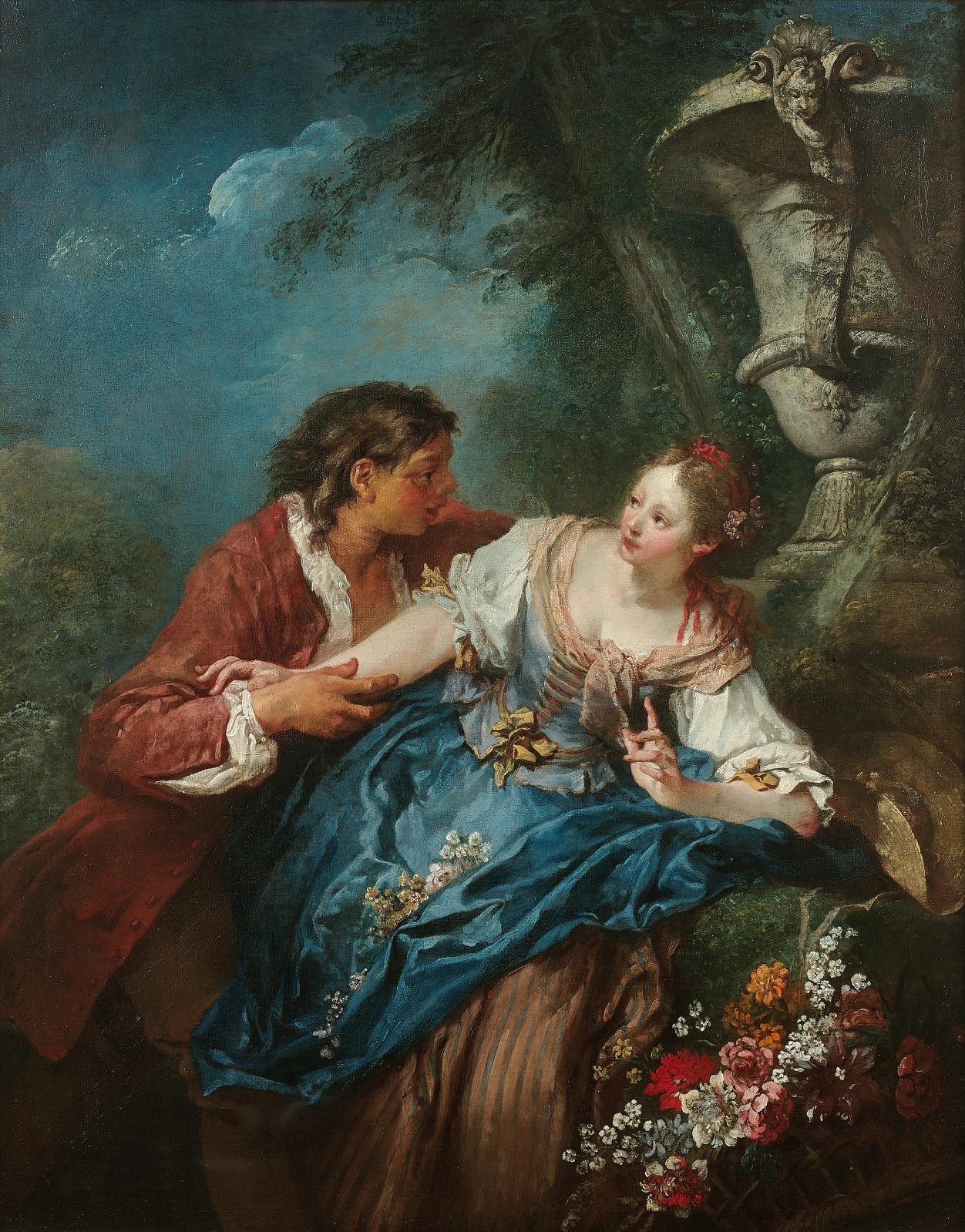 François Boucher(1703-1770), LaJardinière surprise, huile sur toile, 1737 (ou 1727), 81x63,5cm (détail). Mardi 2avril, salle6 - Drouot-Richelie