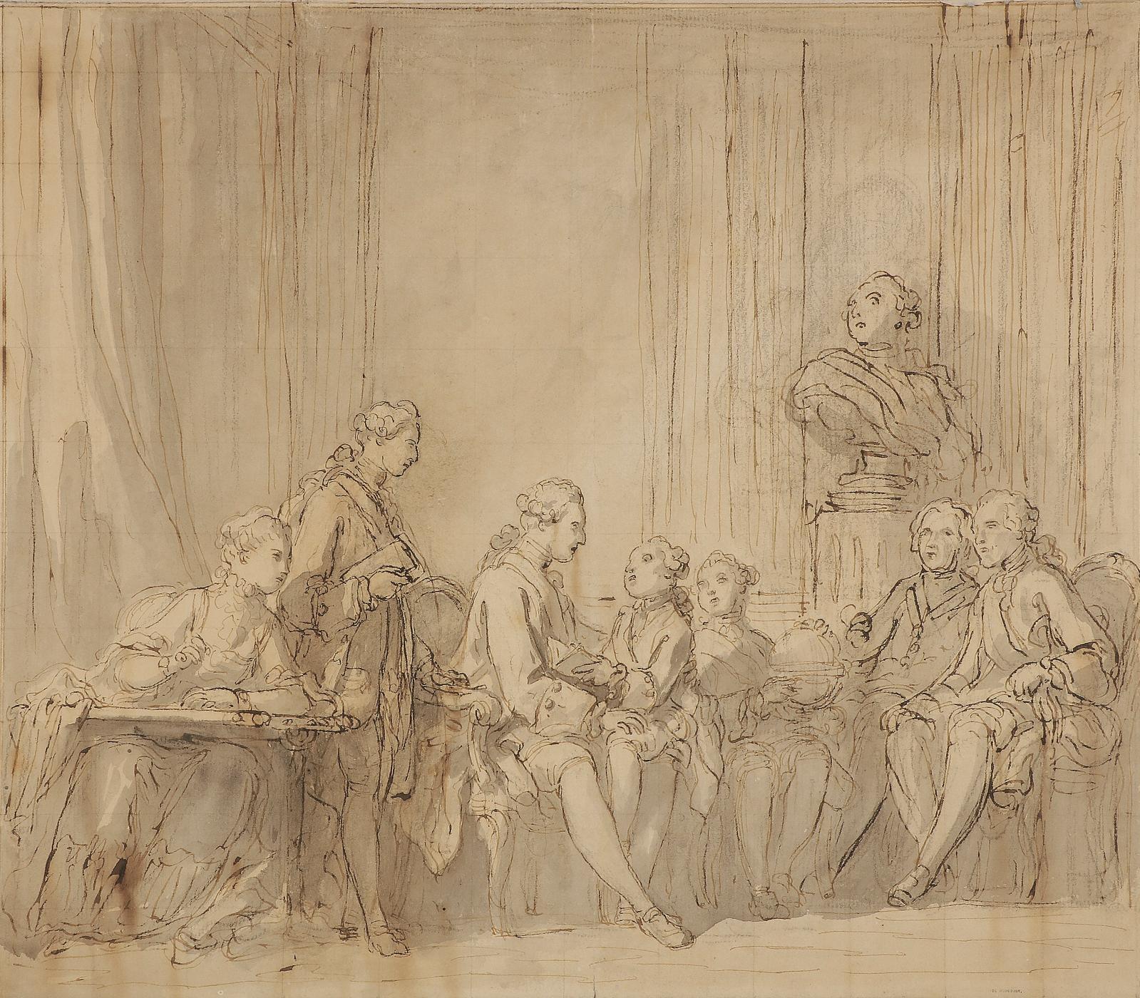 Charles Monnet (1732-1816), Le Dauphin, fils de LouisXV, instruisant ses enfants, plume et encre brune, lavis gris et crayon noir, mise au carreau, 3
