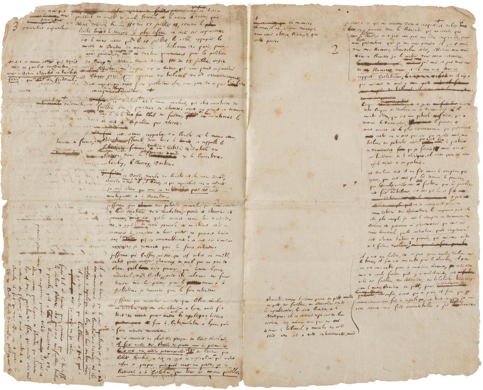 Camille Desmoulins(1760-1794), notes autographes sur le rapport de Saint-Just, 1er avril 1794, trois pages in-folio avec ratures et corrections. Jeud