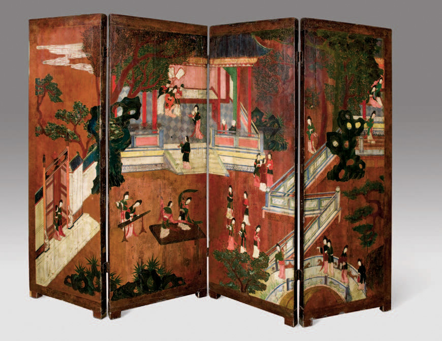 Paravent à trois panneaux de tapisseries au point par Jean Lurçat, titré Les Sirènes.Château de Cheverny, 6juin2005. Rouillac SVV.21229€ frais com