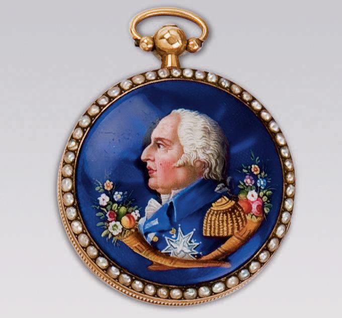 Montre de poche ornée d'un portrait de LouisXVIII, XIXe siècle. Paris, Drouot, 15juin2009. Gros et Delettrez SVV. M. Hamdi775€ frais compris.