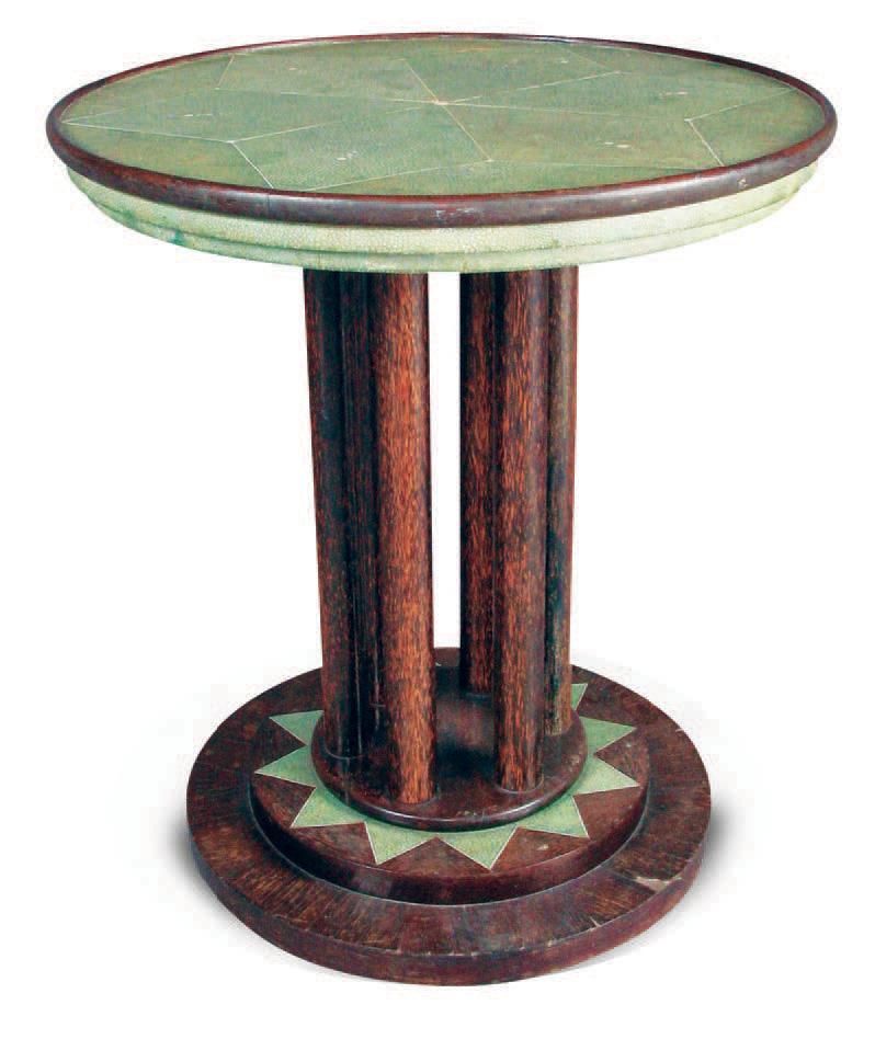 Clément Rousseau (1872-1950),guéridon en placage de palmier, galuchat et ivoire,signé, H. 55,3 cm, diam. 49,7 cm.Tours, 27 janvier 2003, Fraisse - Jab