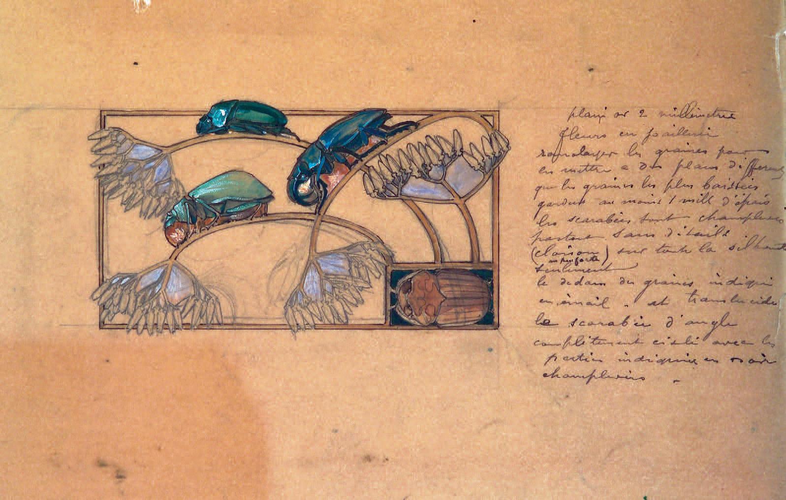 Plaque de collier de chien Scarabées, encre de chine, gouache et aquarelle, annoté par l'artiste.Motif seul : 5 x 9 cm. Support papier : 28 x 22 cm.Pa