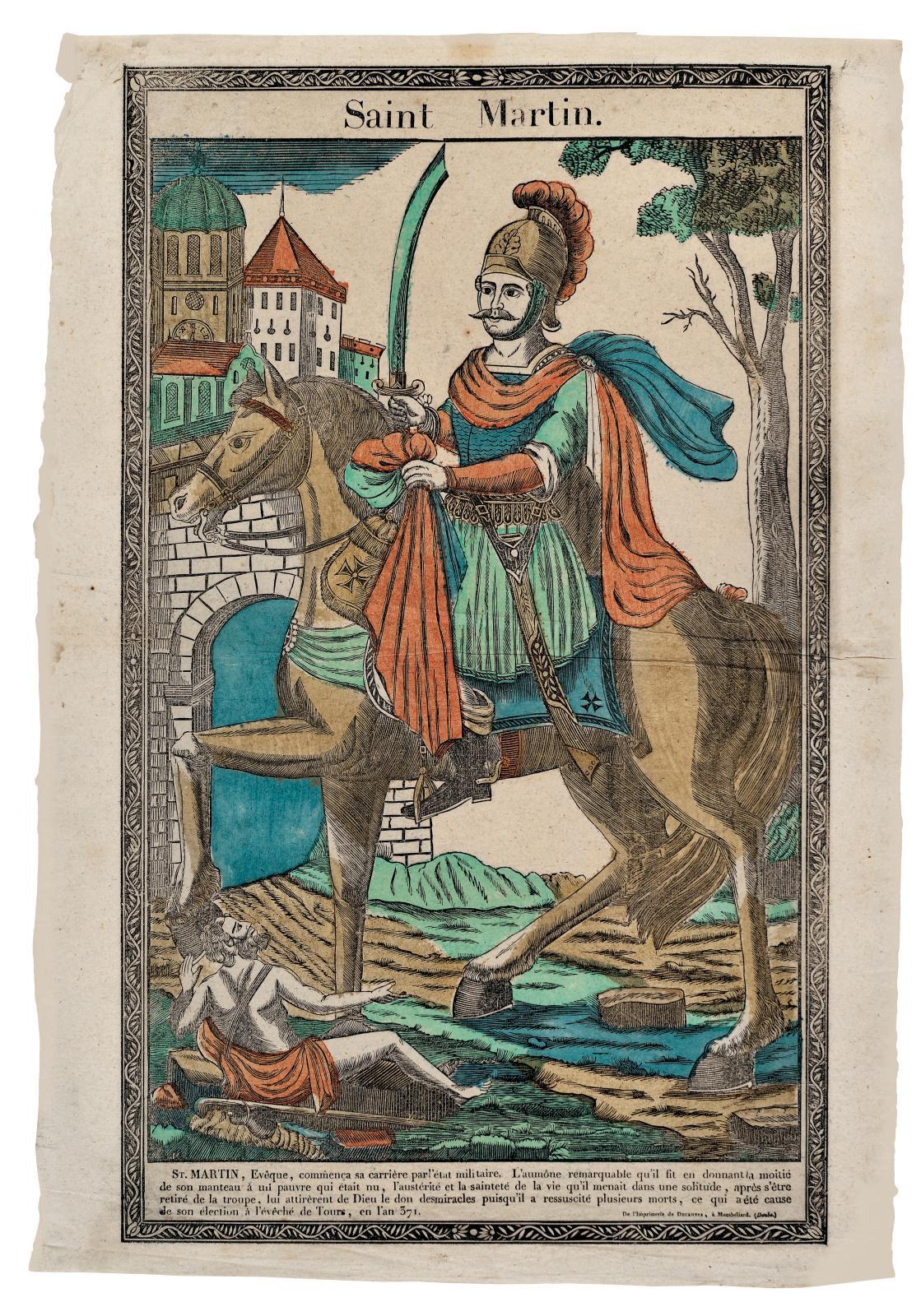 Saint Martin, à Montbéliard de l'imprimerie de Deckherr (vers 1820-1830), 56,5 x 34 cm.