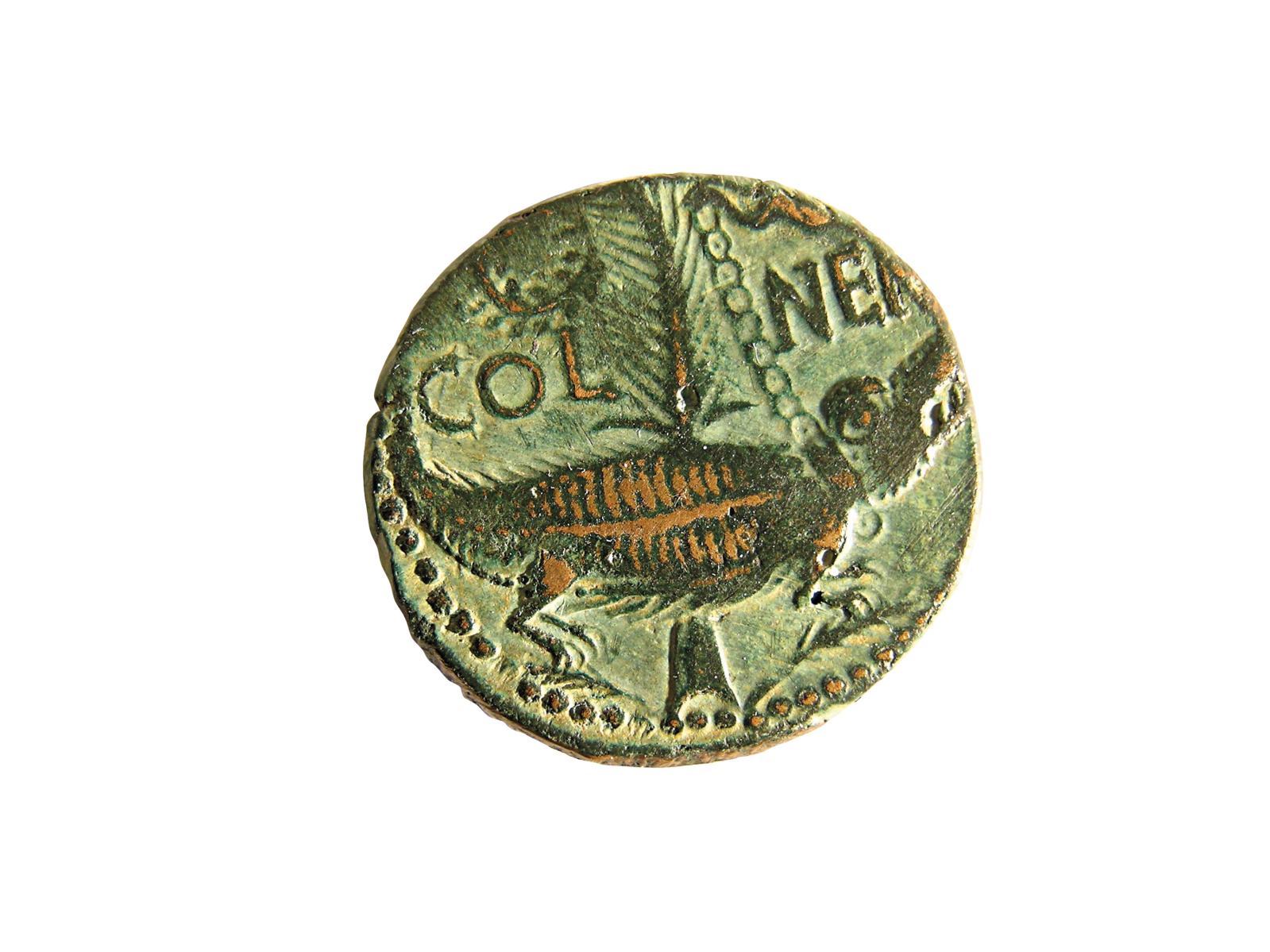 As de Nîmes, monnaie émise à Nîmes sous le règne d'Auguste (27av.J.-C.-14apr.J.-C.). Revers: crocodile enchaîné à une palme, «COL NEM» (Colonia N