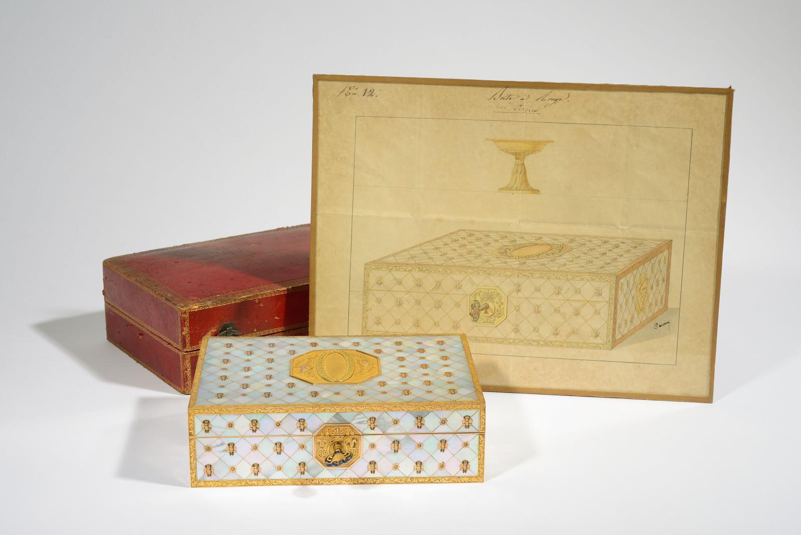 Martin Guillaume Biennais (1764-1843), impératrice Joséphine, «boîte à rouge», coffret en bois couvert de nacre, monture et décor en or, écrin, étique