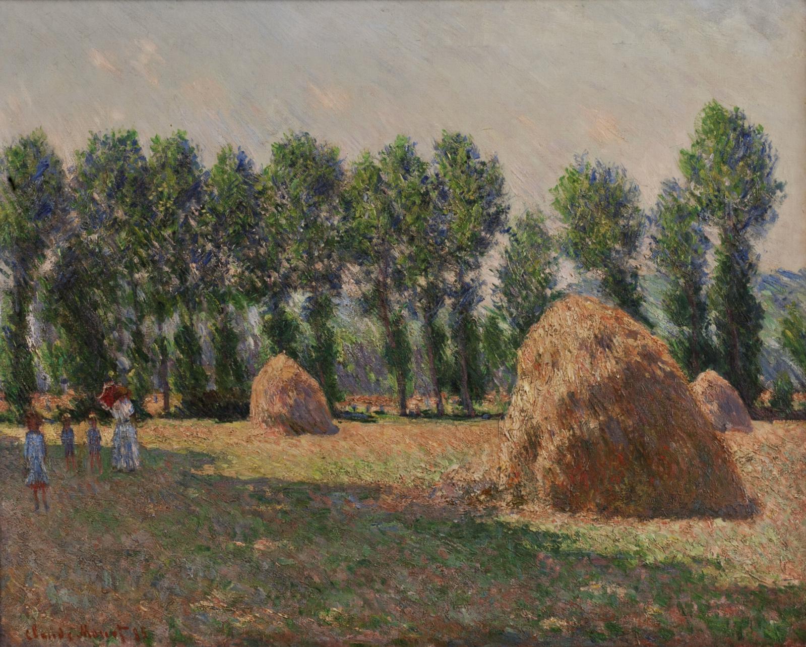 page de gauche Claude Monet (1840-1926), Les Meules à Giverny, 64.9x81.1cm, 1885. Vendu par l'intermédiaire de Thomas Seydoux chez Christie's, à Ne