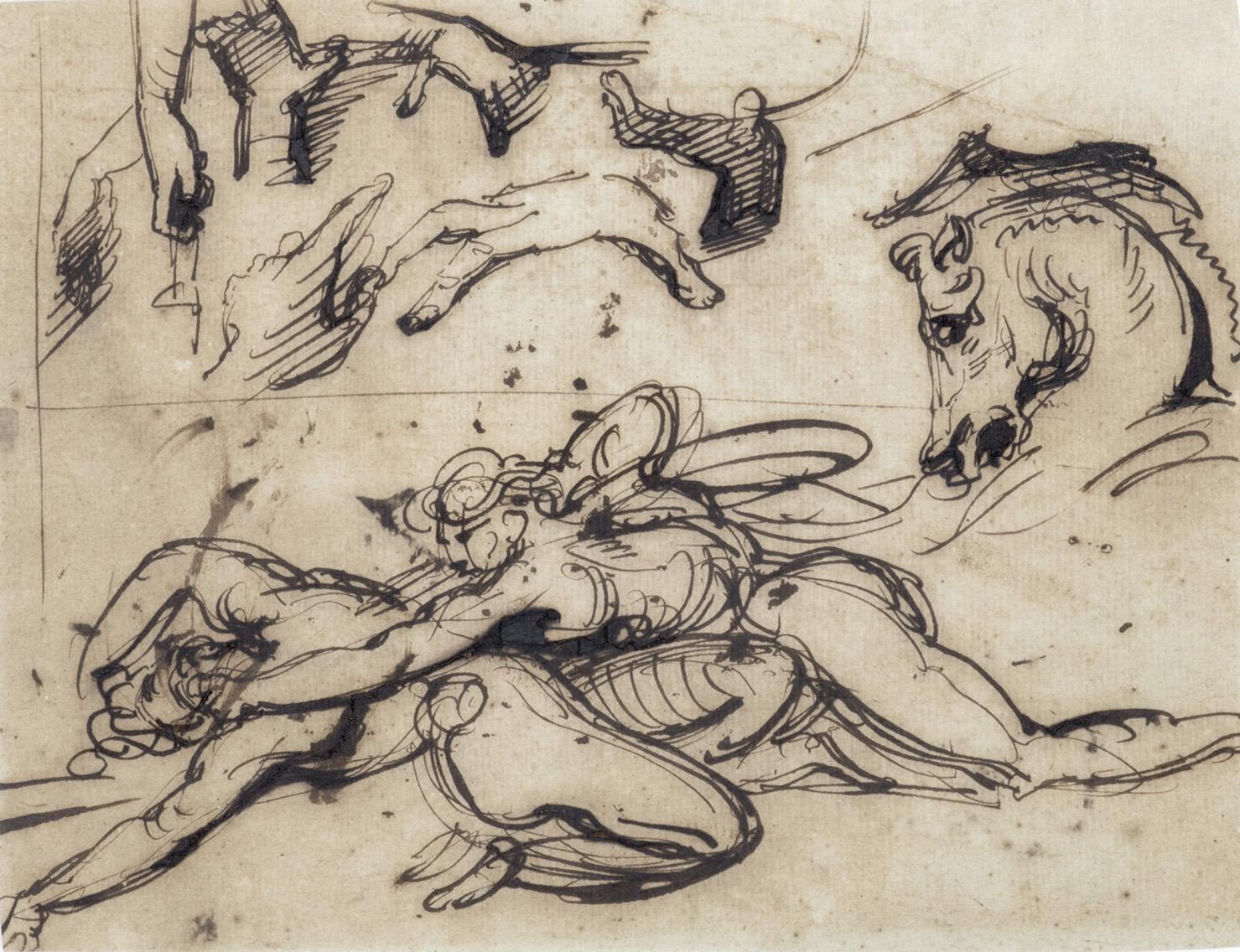 Attribuée à Théodore Géricault (1791-1824). Feuille d'études avec des mains, une tête de cheval et une esquisse de combat de gladiateurs, plume et enc
