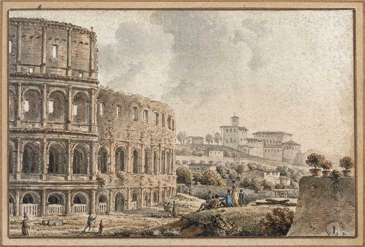 Victor Jean Nicolle(1754-1826), LeColisée à Rome, plume et aquarelle, 6x8cm.Paris, Drouot, 9décembre 2015. Beaussant LefèvreOVV. M.Auguier. Ad