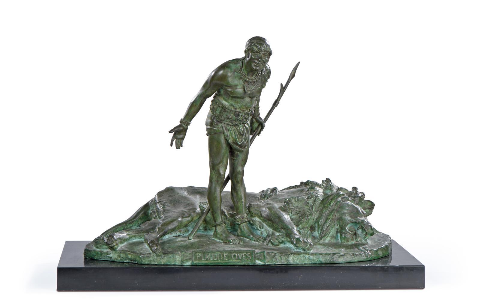 Jean-Léon Gérôme (1824-1904), Le Gladiateur acclamé, bronze à patine vert antique, fonte d'édition «Siot à Paris», 38x54x27cm.Paris, Drouot, 20 o