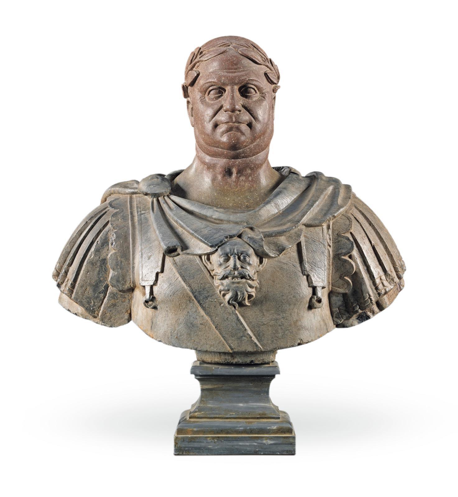 Rome, ateliers impériaux, Iersiècle apr. J.-C. pour la tête, XVIIesiècle pour le buste. Portrait en buste de l'empereur Vespasien, marbre gris et mi