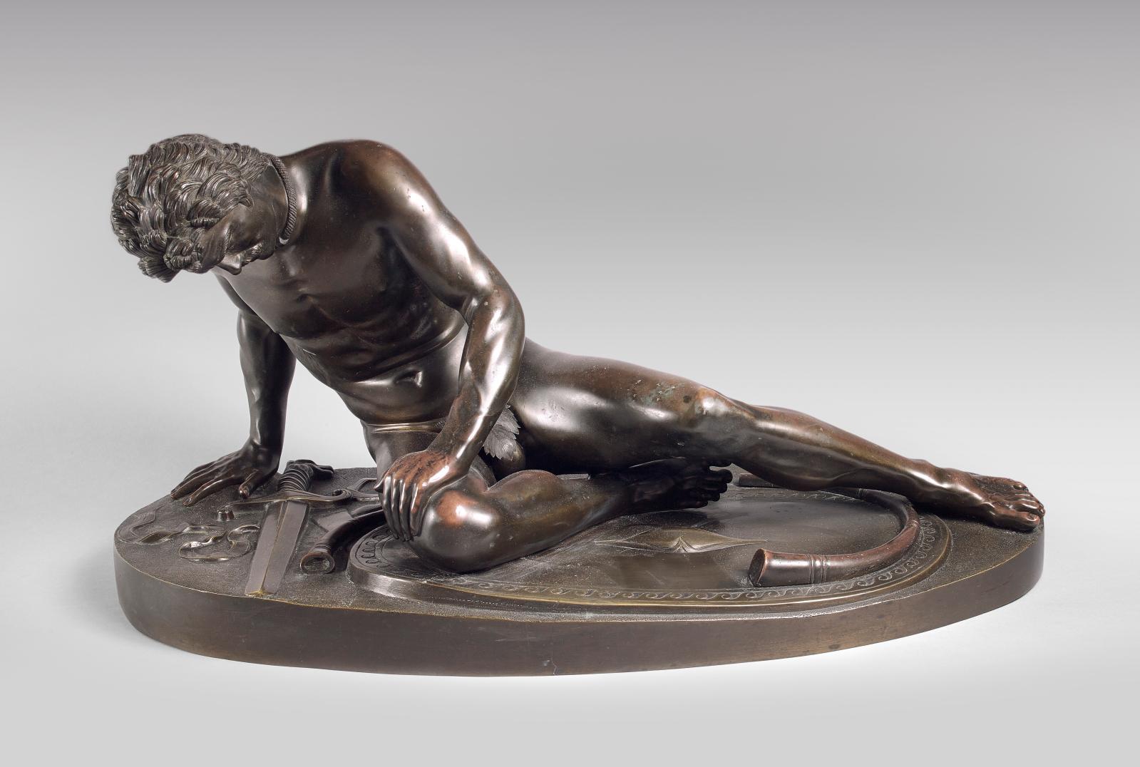 D'après Metello Amadio (1884-?), Gladiateur à terre, épreuve en bronze à patine brune, 35x68x33cm (détail).Paris, Drouot, 24 juin 2015. Drouot-Es