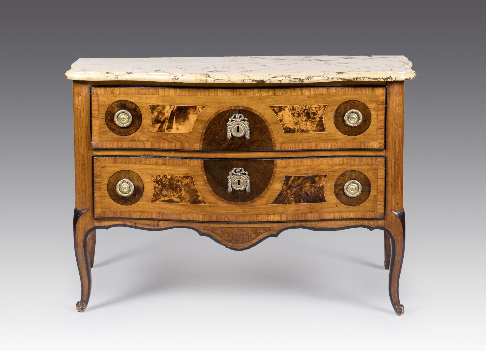 Jean-François Hache (1730-1796), commode Transition, datée «octobre 1774», bois de placage sur bâti de résineux, marqueterie avec médaillon central en