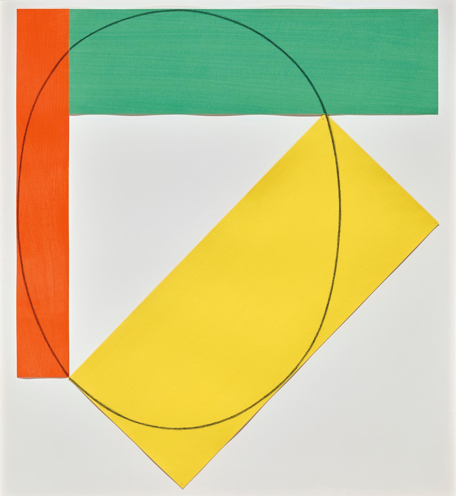 Robert Mangold (né en 1937), Three Color Frame Painting, 1985, acrylique et crayon sur papier, signé daté et titré au verso au crayon, 92x81,3cm, d